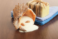 Handmade soap, towels and salt Royalty Free Stock Image