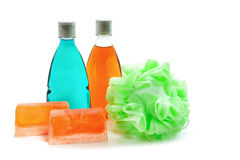 Handmade soap, two bottle of shower gel  and soft bath puff or sponge. Stock Photography