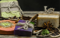 Handmade soap on wooden background Royalty Free Stock Photos