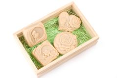 Handmade soap in wooden box as gift Royalty Free Stock Images