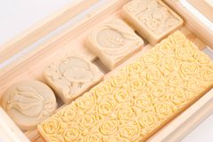 Handmade soap in wooden box as gift Royalty Free Stock Photo