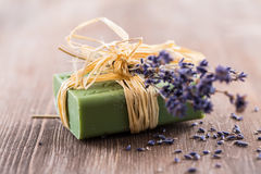 Handmade soap on wooden table stock photos