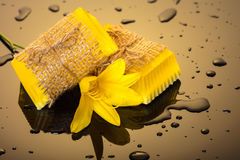 Handmade soap yellow with drops of water Royalty Free Stock Photo