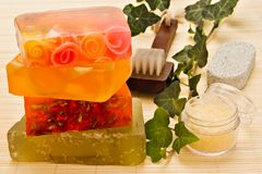 Handmade soaps and bath items Stock Photography