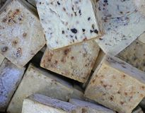 Handmade soaps with black sesame on a Turkish local market stock photo