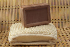 Handmade soaps and cleansers are made ​​of natural fibers on Stock Images