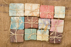 Handmade soaps. Colorful handmade soaps on jute .View from above Royalty Free Stock Photography