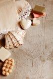Handmade soaps, elegant towel. Royalty Free Stock Photo