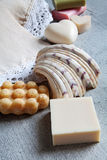 Handmade soaps, elegant towel, shell. Royalty Free Stock Image