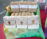 Handmade soaps at a Farmer`s Market, Christian label Royalty Free Stock Photo