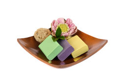 Handmade soaps with herbs. Stock Photos