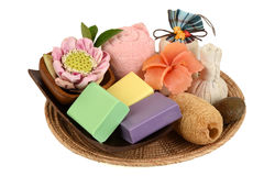 Handmade soaps with herbs. Stock Images