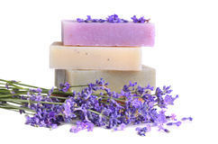 Handmade soaps and lavender Stock Photo