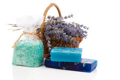 Handmade soaps, lavender flowers and bath salt Stock Photos