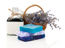 Handmade soaps, lavender flowers and oil Stock Photography