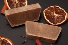 Handmade soap made with love stock photos