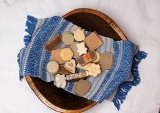 Handmade soap made with love stock photo