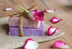 Handmade soaps. Rose handmade soaps on wood Stock Photo