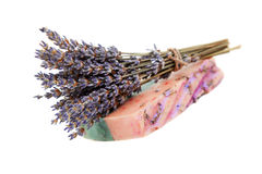 Handmade soaps, and sprigs of lavender Royalty Free Stock Image