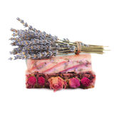 Handmade soaps, and sprigs of lavender Stock Image