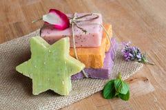 Handmade soaps. Various handmade soaps on wood Royalty Free Stock Photo