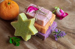 Handmade soaps. Various handmade soaps on wood Royalty Free Stock Photography