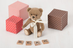 Handmade Soft Toy. Bear Word. Traditional Teddy Royalty Free Stock Photo