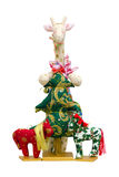 Handmade soft toy isolated New Year tree and giraf Royalty Free Stock Image