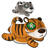 Handmade soft toy tiger. Vector animal Stock Images