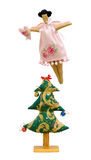 Handmade soft toys isolated New Year tree and ange Royalty Free Stock Images