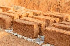 Handmade Soil brick Stock Photo