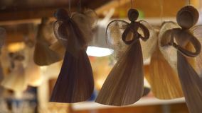 Handmade souvenirs at  Christmas Fair stock footage