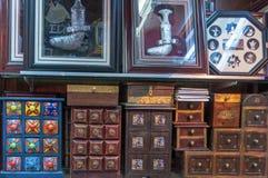 Handmade spices cabinet display Stock Photos
