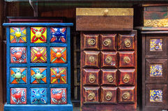 Handmade spices cabinet display Royalty Free Stock Photography