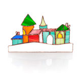 Handmade stained glass castle on white Royalty Free Stock Photo