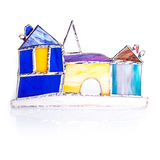 Handmade stained glass colorful castle stock photos