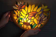 Handmade stained glass lamp with colorful sunflowers Royalty Free Stock Photos
