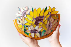 Handmade stained glass lamp with colorful sunflowers Royalty Free Stock Images