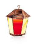 Handmade stained glass lantern on white Stock Images