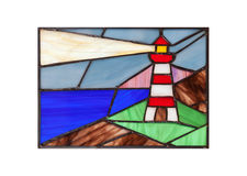 Handmade stained glass with lighthouse Royalty Free Stock Photography