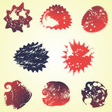 Handmade stamp set and ink stains, textures, abstract shapes Royalty Free Stock Photos