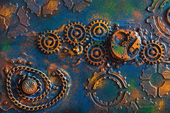 Handmade steam punk background mechanical cogs wheels Royalty Free Stock Photo