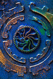 Handmade steampunk background mechanical cogs wheels Royalty Free Stock Image