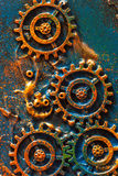 Handmade steampunk background mechanical cogs wheels.  Royalty Free Stock Photo