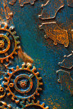 Handmade steampunk background mechanical cogs wheels.  Stock Photography