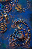 Handmade steampunk background mechanical cogs wheels Royalty Free Stock Photo
