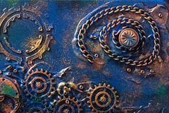 Handmade steampunk background mechanical cogs wheels.  Royalty Free Stock Photos