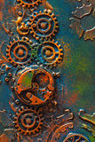 Handmade steampunk background mechanical cogs wheels clockwork Stock Photos