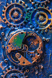 Handmade steampunk background mechanical cogs wheels clockwork.  Royalty Free Stock Photo