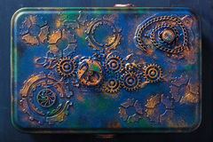 Handmade steampunk box with mechanical cogs wheels clockwork Stock Images